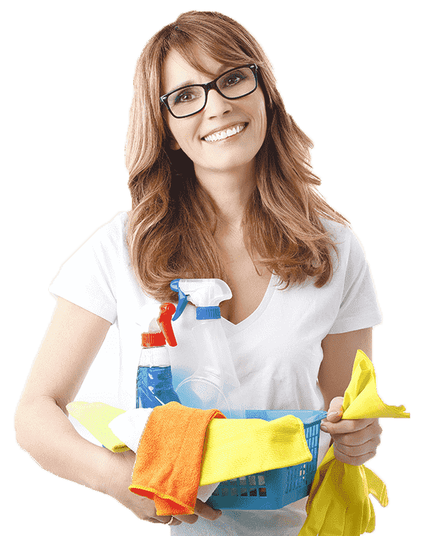 beautiful woman with glasses holding small basket with spray bottle and rags