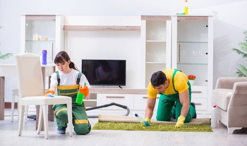 young girl wiping the chair with a sponge and a man sprucing a carpet with a spray