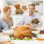 A family is enjoying thanksgiving dinner