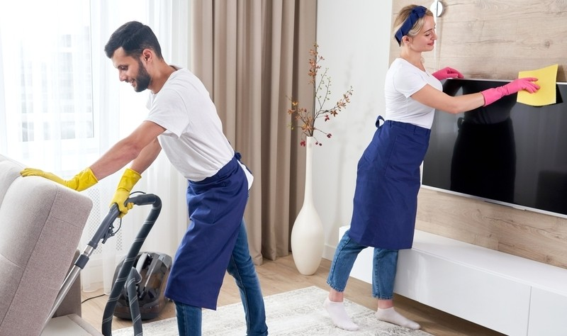 professional sprucing up a property
