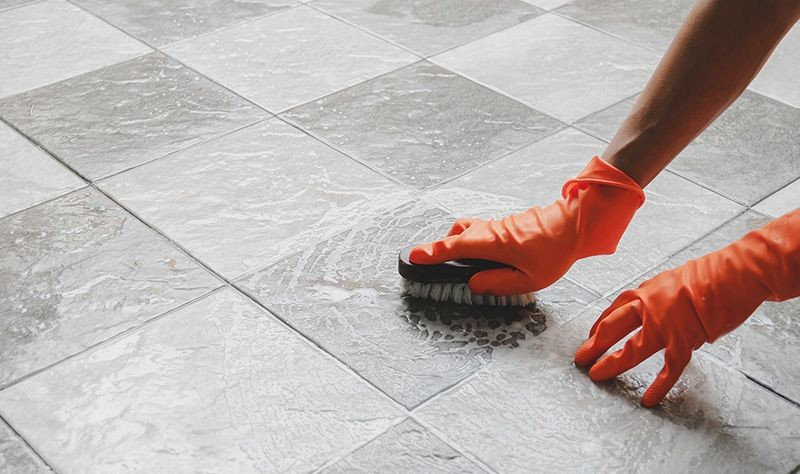 cropped picture of a person moping the floor